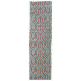 Cosmopolitan Pink/Teal Hand-tufted Wool Rug (2'3 x 8')