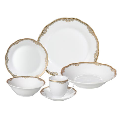 Lorren Home Trends 'Catherine' 24-piece Porcelain Dinnerware Set