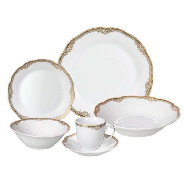 Lorren Home Trends u0026#x27;Catherineu0026#x27; 24-piece Porcelain Dinnerware  sc 1 st  Overstock & Shop Lorren Home Trends u0027Catherineu0027 24-piece Porcelain Dinnerware ...