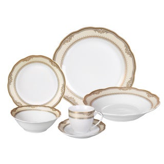 Lorren Home Trends 'Isabella' 24-piece Porcelain Dinnerware Set