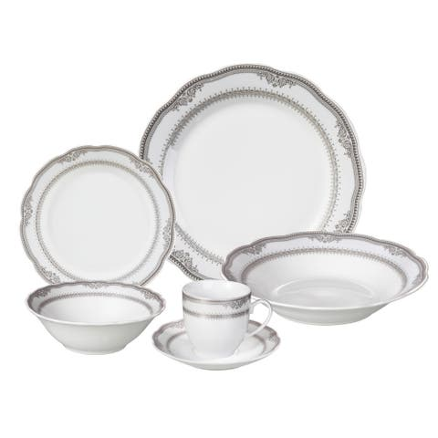 Lorren Home Trends 'Victoria' 24-piece Porcelain Dinnerware Set