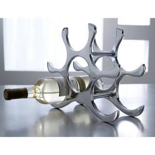 Six Bottle Polished Aluminum Wine Rack