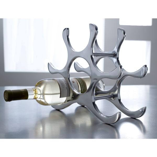 Shop Six Bottle Polished Aluminum Wine Rack On Sale