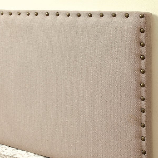 Furniture Of America Adjustable Nailhead Trim Flax Upholstered Headboard    Free Shipping Today   Overstock.com   16256052