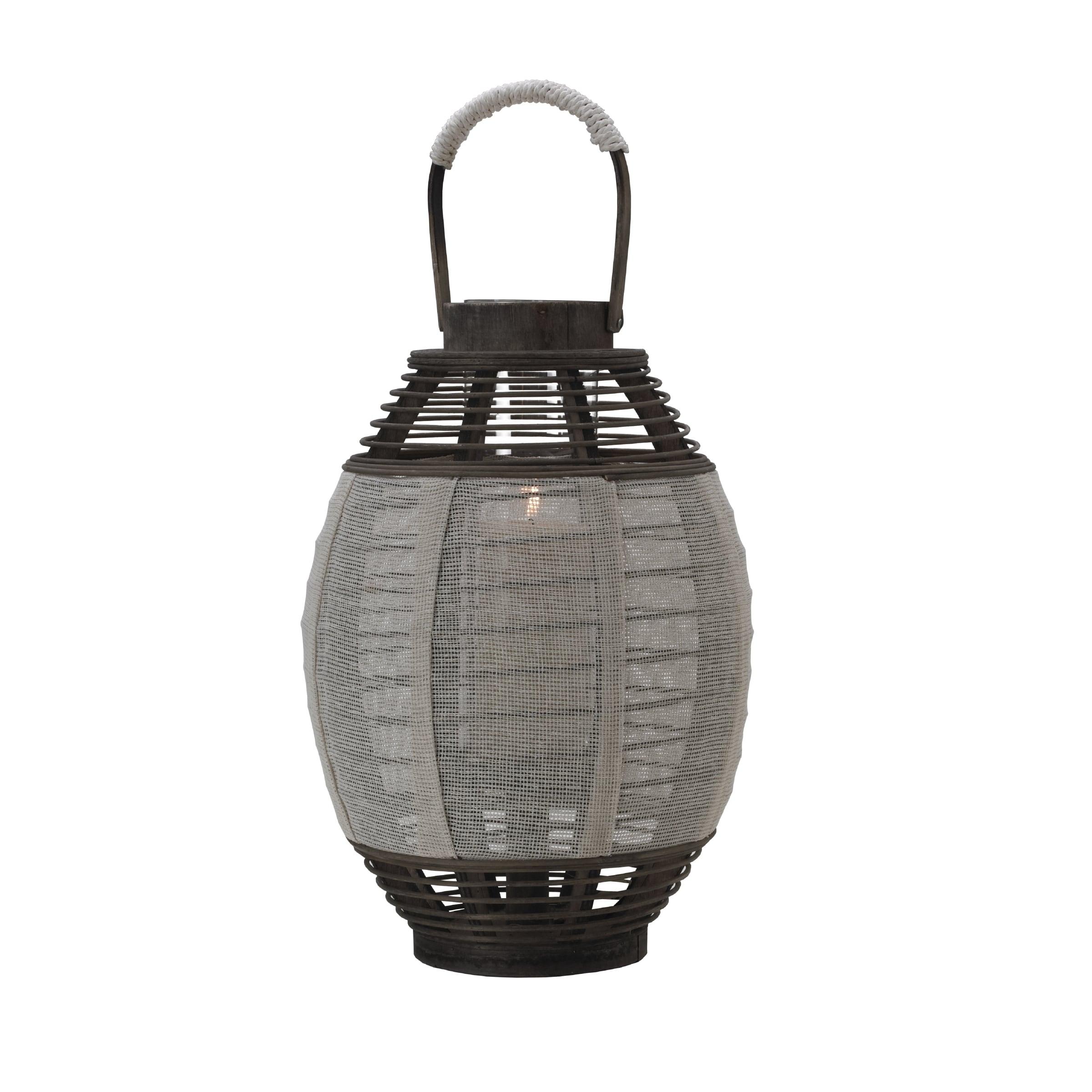 Element 17-inch Cream Jute-wood Lantern (Cream), Black (F...