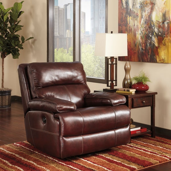 Signature Designs By Ashley Lensar Burgundy Swivel Rocker