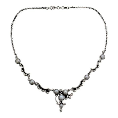 "Handmade Sterling Silver Cloud Song Pearl Style Rolo Necklace (5-8 mm) (India) - 7'6"" x 9'6"""