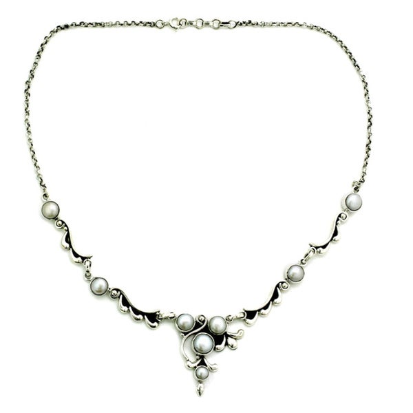 Handmade Sterling Silver Cloud Song Pearl Style Rolo Necklace (5-8 mm) (India)