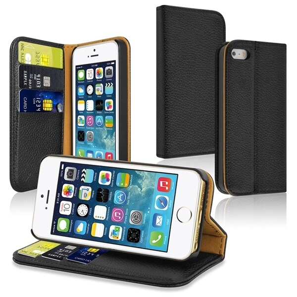 Insten Stand Folio Flip Fabric Wallet Leather Case with Card Slots for Apple iPhone 5/ 5S
