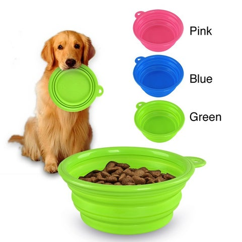 Insten Collapsible Soft Silicone Pet Dog Water/ Food Bowl