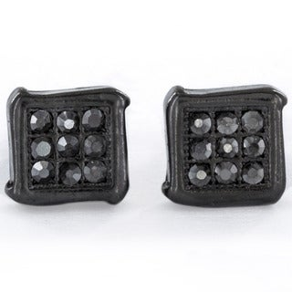 Black Hematite Micro-pave Crystal Square Stud Earrings