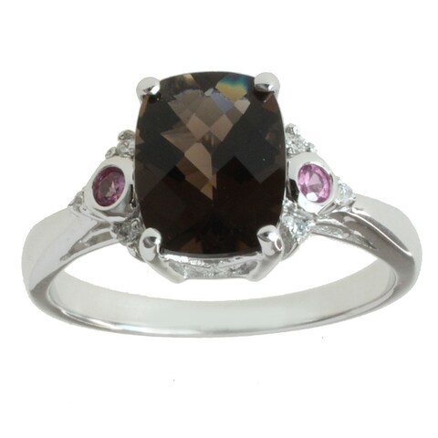 M.V. Jewels 14k White Gold Smoky Quartz, Pink Sapphire and Diamond Accent Ring