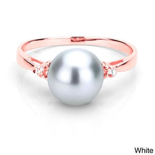 DaVonna 18k Gold over Silver 1/10ct TDW Diamond Ring Pearl (8-9 mm) (L-M, I1-I2) (More options available)