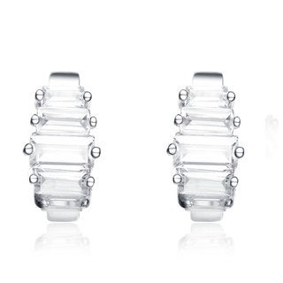 Collette Z Sterling Silver Baguette-cut Cubic Zirconia Mini Hoop Earrings