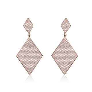 Collette Z Sterling Silver Cubic Zirconia Double Diamond Shape Dangle Earrings