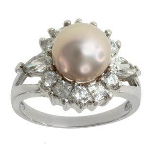 Michael Valitutti 10k White Gold Pink Freshwater Pearl and Cubic Zirconia Ring (8-8.5 mm)