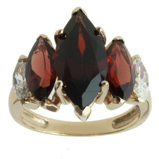 Michael Valitutti 10k Yellow Gold Garnet and Cubic Zirconia Ring