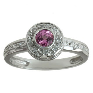 Michael Valitutti 14k White Gold 1/6ct TDW Diamond Pink Sapphire Ring (I-J, I1-I2)