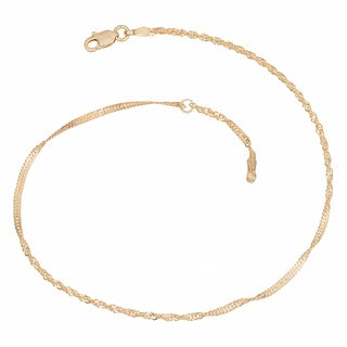 Fremada 14k Yellow Gold Singapore Chain Adjustable Anklet 10 Inch