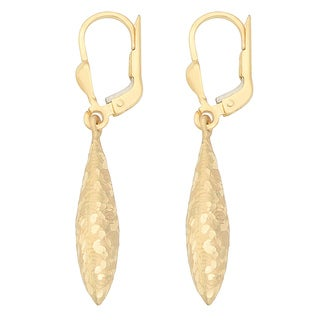 Fremada 14k Yellow Gold Texture Leverback Drop Earrings