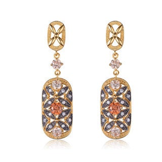 Collette Z Black and Gold Sterling Silver Champagne Cubic Zirconia Dangling Earrings