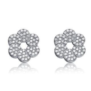 Collette Z Sterling Silver Cubic Zirconia Round Flower Shape Earrings