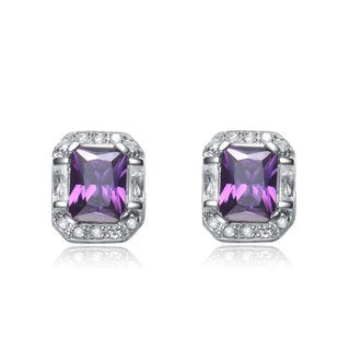 Collette Z Sterling Silver Purple and White Cubic Zirconia Square Earrings