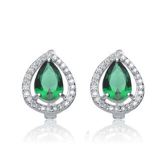 Collette Z Sterling Silver Green and White Cubic Zirconia Pear-cut Earrings