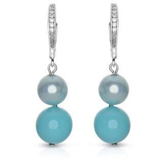 Collette Z Sterling Silver Cubic Zirconia and Faux Turquoise Pearl Dangling Earrings