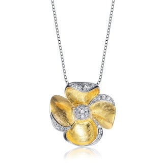 Collette Z Two Tone Sterling Silver Cubic Zirconia Flower Shape Necklace