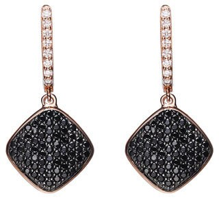 Collette Z Rose and Black Plated Sterling Silver Black Cubic Zirconia Diamond-shape Earrings