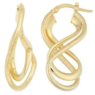 Fremada 14k Yellow Gold Double Infinity Hoop Earrings
