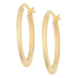 Fremada 14k Yellow Gold Polished Oval Hoop Earrings