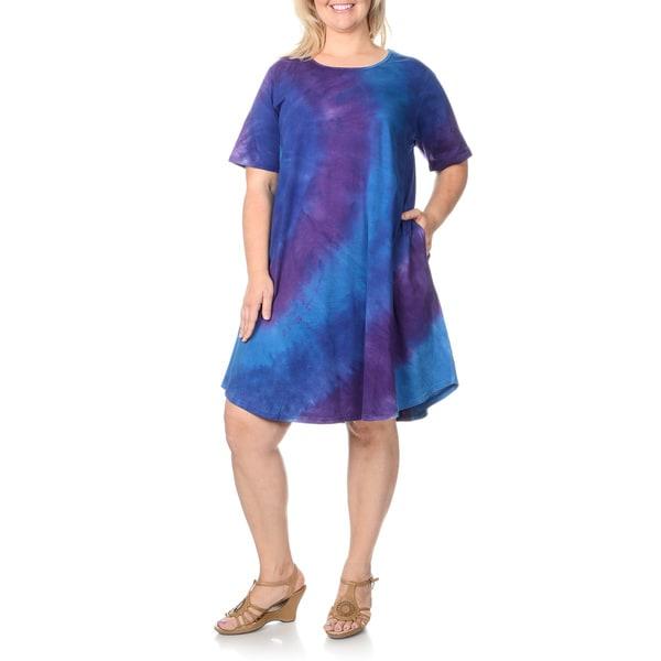 La Cera Plus Size Denim Tie-dye Short Sleeve Dress. Opens flyout.