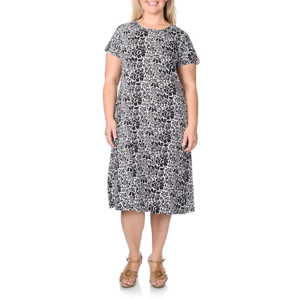 La Cera Womens Plus Size Abstract Floral Print Dress