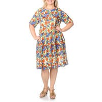 La Cera Women's Plus Size Blue and Coral Rose Print Dress