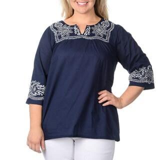 La Cera Women's Plus Size Navy Embroidered Peasant Top