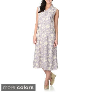La Cera Women's Rose Print Silk Button-front Dress