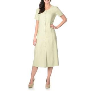 La Cera Women's Sage Green Silk Button-front Dress