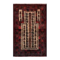 Herat Oriental Afghan Hand-knotted 1960s Semi-antique Tribal Balouchi Wool Rug - 2'6 x 4'