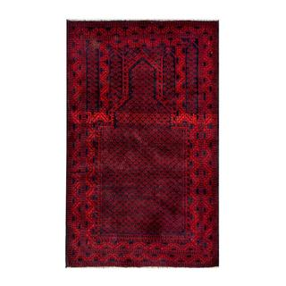 Herat Oriental Afghan Hand-knotted 1950s Semi-antique Tribal Balouchi Wool Rug (2'8 x 4'5)