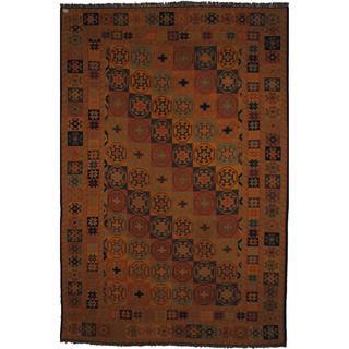 Herat Oriental Afghan Hand-woven Soumak Peach/ Green Wool Rug (6'6 x 9'6)