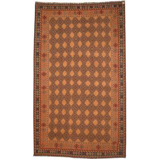 Herat Oriental Afghan Hand-woven Soumak Beige/ Peach Wool Rug (6'4 x 10'7)