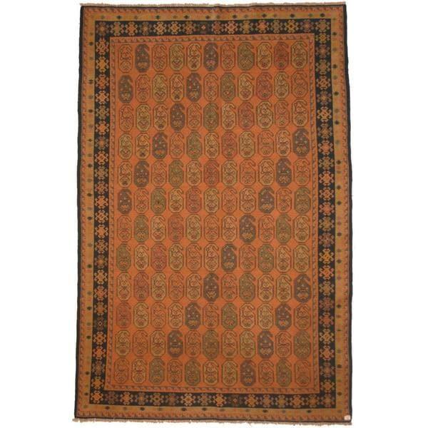 Herat Oriental Afghan Hand-woven Soumak Peach/ Navy Wool Rug (6'7 x 10') - 6'7 x 10'