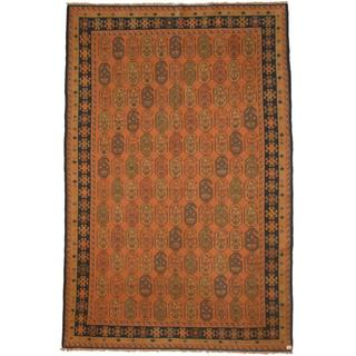 Herat Oriental Afghan Hand-woven Soumak Peach/ Navy Wool Rug (6'7 x 10')