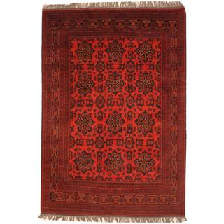 Herat Oriental Afghan Hand-knotted Khal Mohammadi Rust/ Burgundy Wool Rug (6'7 x 9'4)