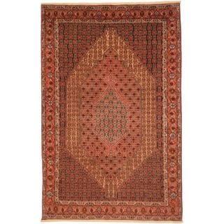 Herat Oriental Persian Hand-knotted Moud Bidjar Ivory/ Peach Wool Rug (6'7 x 10')