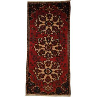 Herat Oriental Persian Hand-knotted Hamadan Red/ Ivory Wool Rug (5' x 10'10)