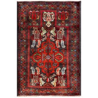 Herat Oriental Semi-antique Afghan Hand-knotted Tribal Balouchi Red/ Grey Wool Rug (2'10 x 4'3)