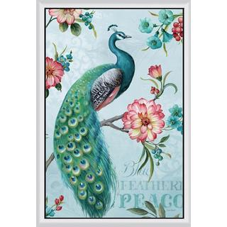 Lisa Audit 'Blue Feathered Peacock I' Framed Canvas Art